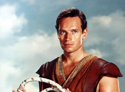 Whipping the audience into a frenzy...Charlton Heston as (Judah) 'Ben-Hur'.
