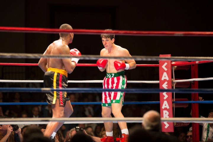 Miles Teller squares up for the final bout in Bleed For This (2016), but how long will he be against the ropes for? Image courtesy of Icon Films.