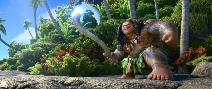 Maui is the mega-bod demigod in Moana (2016) and is voiced by Dwayne Johnson.