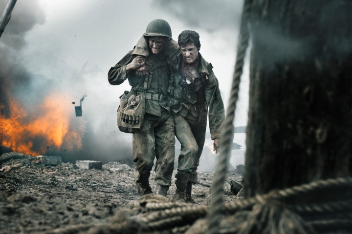 Andrew Garfield as Desmond Doss rescues a soldier in Mel Gibson's Hacksaw Ridge