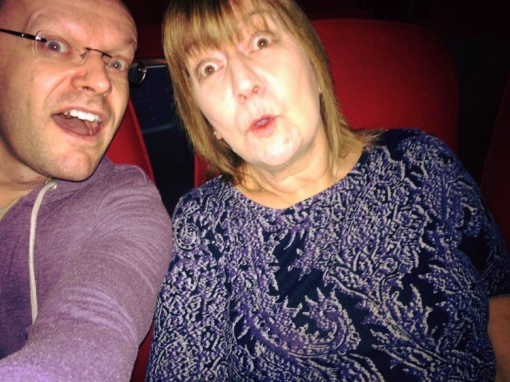 My mother and I at the cinema to see Sing (2016)