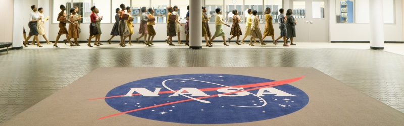 Still showing the black women of NASA march to success in Hidden Figures (Image courtesy of Fox)