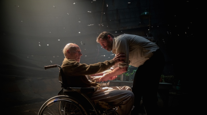 image of logan with hugh jackman and patrick stewart
