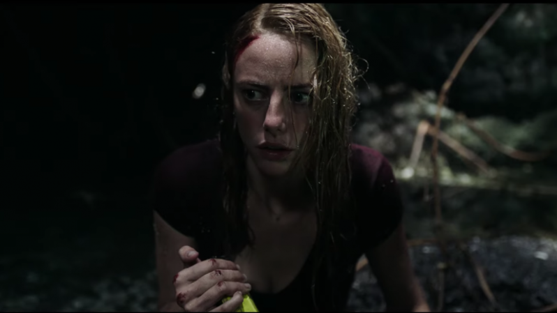 kaya scodelario holding a torch in the horror film crawl
