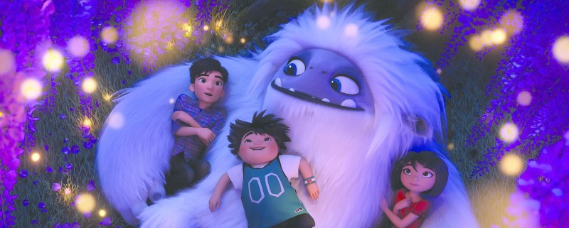Image from the film Abominable showing the yeti and his three human friends