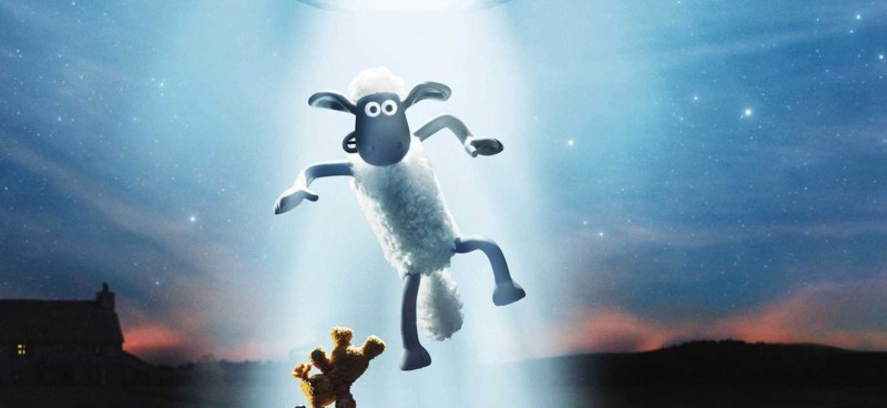Still from the film Shaun the Sheep Farmageddon showing a sheep floating toward a UFO