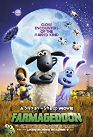 Image of a poster for the film Shaun the Sheep Farmageddon.