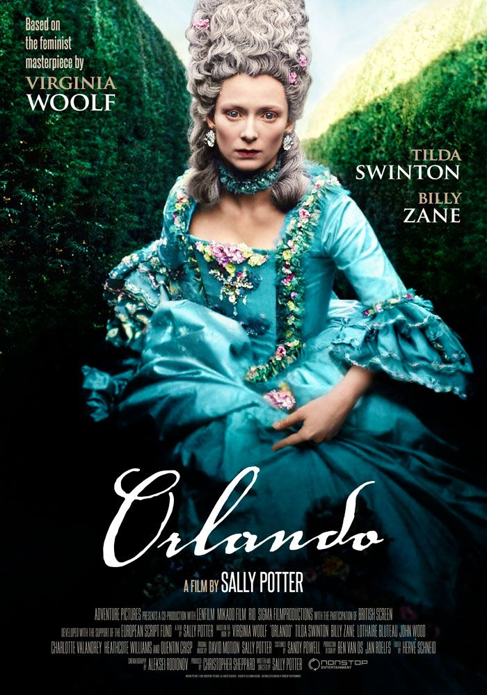 Poster for the film Orlando (1992) depicting Tilda Swinton in a blue 17th century dress in a maze.