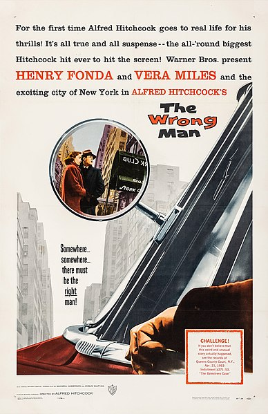11 July 2021. Film review of the Alfred Hitchcock thriller The Wrong Man (1956) starring Henry Fonda and Vera Miles.