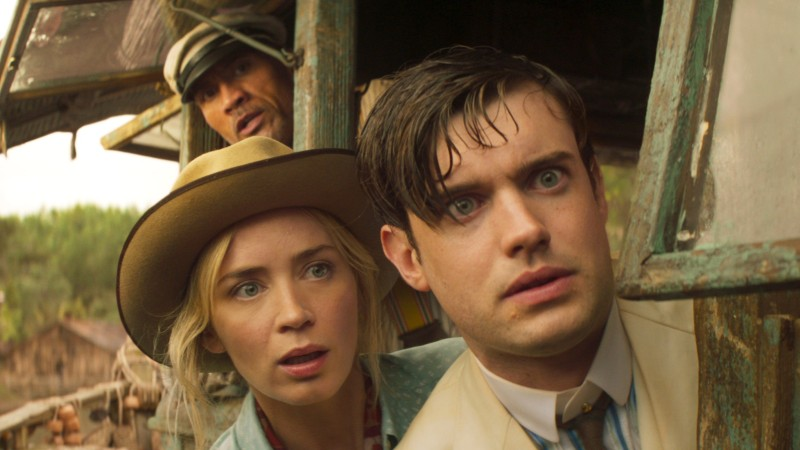 Image from the action adventure film Jungle Cruise (2021) showing stars Dwayne Johnson, Emily Blunt and Jack Whitehall